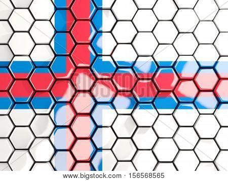 Flag Of Faroe Islands, Hexagon Mosaic Background