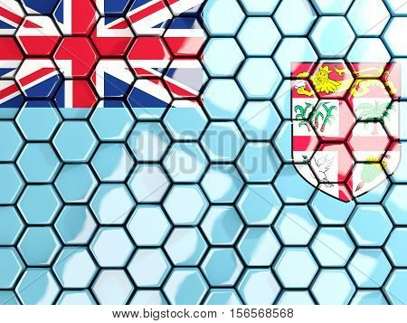 Flag Of Fiji, Hexagon Mosaic Background