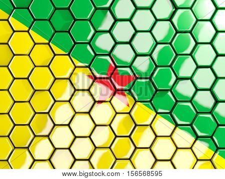 Flag Of French Guiana, Hexagon Mosaic Background