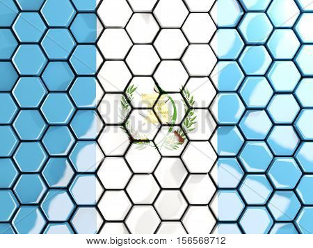 Flag Of Guatemala, Hexagon Mosaic Background