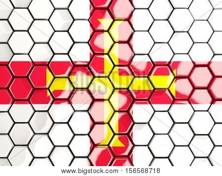 Flag Of Guernsey, Hexagon Mosaic Background