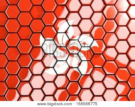 Flag Of Hong Kong, Hexagon Mosaic Background
