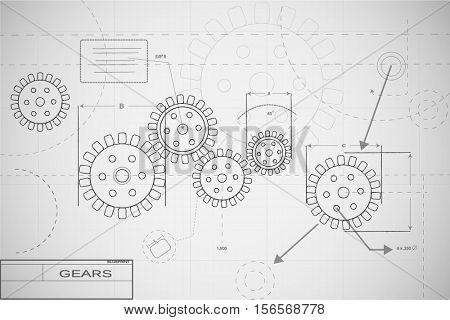 Blueprint gears illustration on white