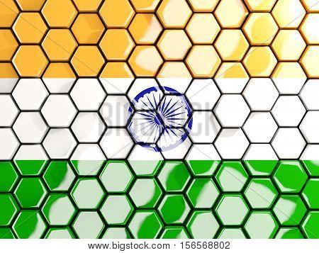 Flag Of India, Hexagon Mosaic Background