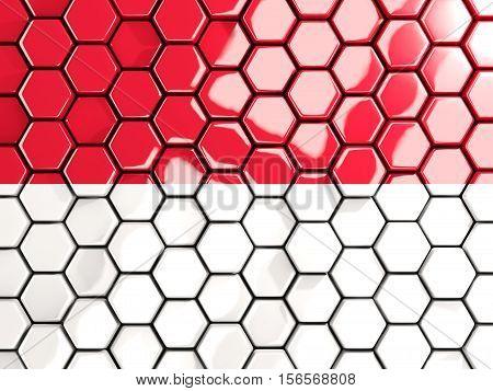 Flag Of Indonesia, Hexagon Mosaic Background