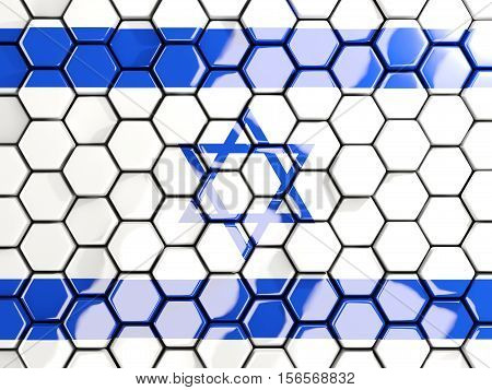 Flag Of Israel, Hexagon Mosaic Background