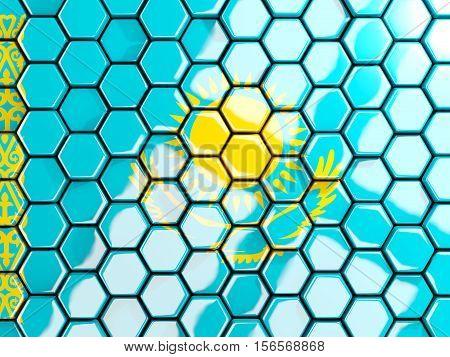 Flag Of Kazakhstan, Hexagon Mosaic Background