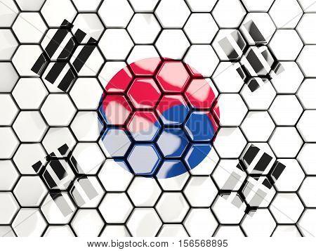 Flag Of Korea South, Hexagon Mosaic Background