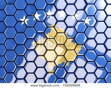 Flag Of Kosovo, Hexagon Mosaic Background