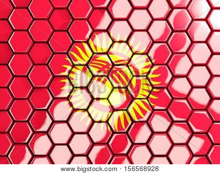 Flag Of Kyrgyzstan, Hexagon Mosaic Background