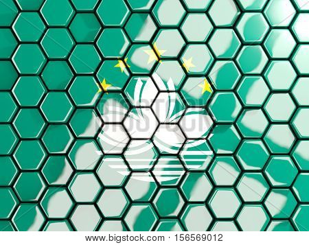 Flag Of Macao, Hexagon Mosaic Background