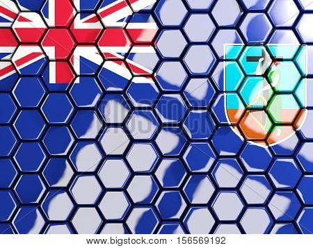 Flag Of Montserrat, Hexagon Mosaic Background