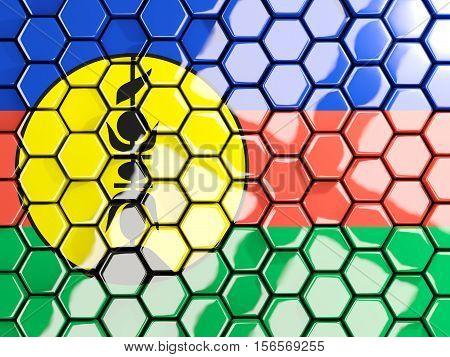 Flag Of New Caledonia, Hexagon Mosaic Background