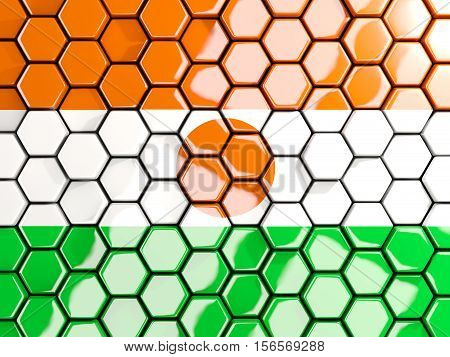 Flag Of Niger, Hexagon Mosaic Background
