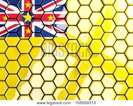 Flag Of Niue, Hexagon Mosaic Background