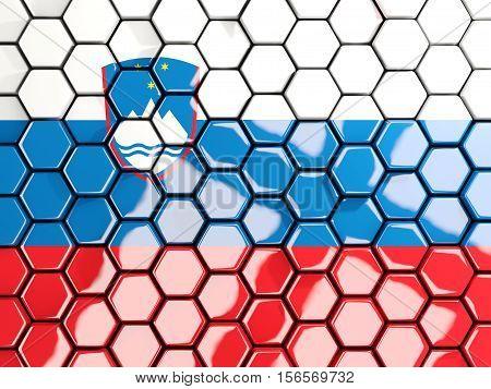 Flag Of Slovenia, Hexagon Mosaic Background