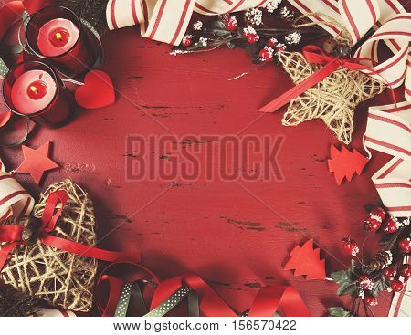 Festive Christmas And Happy Holiday Background On Dark Red Vintage Recycled Wood Background With Cop