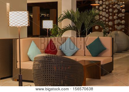 gorgeous amazing view of modern stylish, cozy inviting interior background at evening time