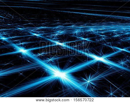Abstract dark background -  computer-generated image. Fractal art: glowing lines with stars and rays. Perspective and light effects. For web design, covers, posters.