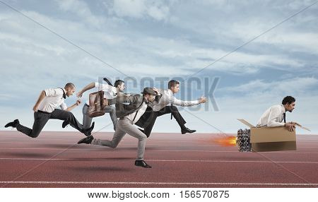 Businessman with cardboard missile overcomes and wins a race against opponents