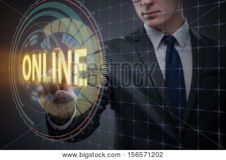 Businessman pressing virtual button online