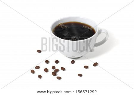 Still Life of a Cup of Hot Coffee with Coffee Beans Scattered on White Background