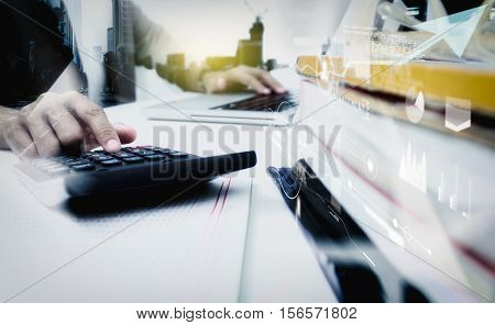 Double Exposure Of Business Woman Recheck Document Or Planing Data For Business Market Target And Ab