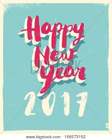 Greetings card with a vintage flavor - Happy New Year 2017 - Vector EPS10.