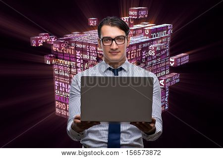 Businessman with laptop in business concept