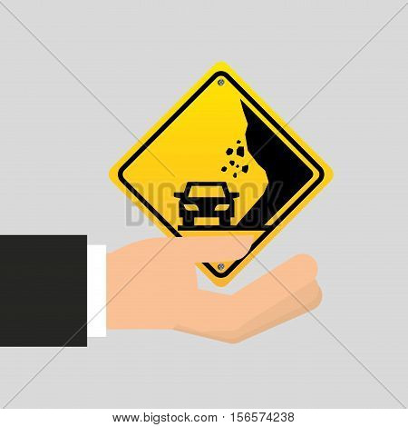road sing caution icon vector illustration eps 10