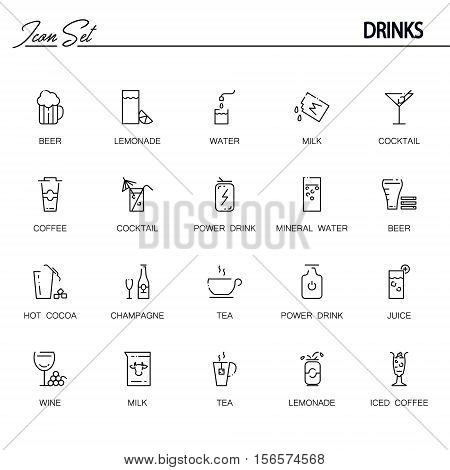 Drinks flat icon set. Collection of high quality outline symbols of drinks and alcohol for web design, mobile app. Vector thin line vector icons or logo of tea, coffee, lemonadem beer, etc.