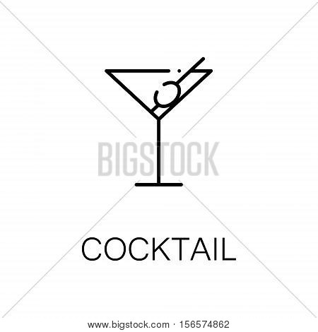 Cocktail flat icon. Single high quality outline symbol of drink for web design or mobile app. Thin line signs of coctail for design logo, visit card, etc. Outline pictogram of coctail