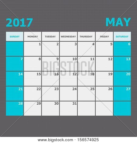 May 2017 calendar week starts on Sunday, stock vector