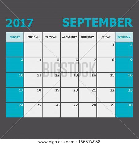 September 2017 calendar week starts on Sunday, stock vector