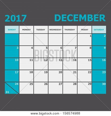 December 2017 calendar week starts on Sunday, stock vector