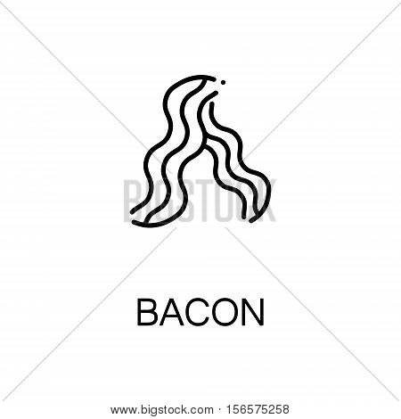 Bacon flat icon. Single high quality outline symbol of meat food for web design or mobile app. Thin line signs of bacon for design logo, visit card, etc. Outline pictogram of bacon