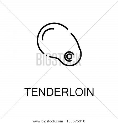 Tenderloin flat icon. Single high quality outline symbol of meat food for web design or mobile app. Thin line signs of tenderloin for design logo, visit card, etc. Outline pictogram of tenderloin