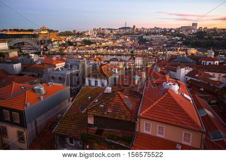 Bird's eye view of the Old Porto and the Douro river during a marvelous sunset. Portugal.