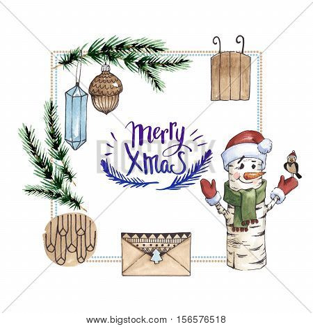 Christmas winter holiday symbol frame in a watercolor style isolated. 2017 cock year, happy holidays. Aquarelle christmas card for background, texture, wrapper pattern, frame or border.