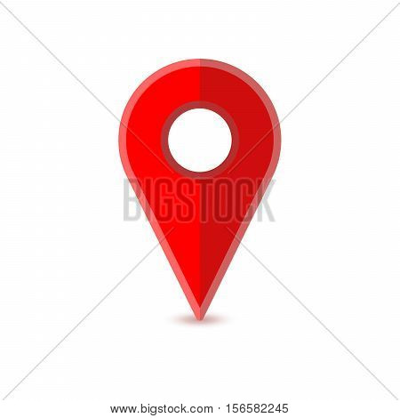 Glossy red flat map pin with shadow isolated on white