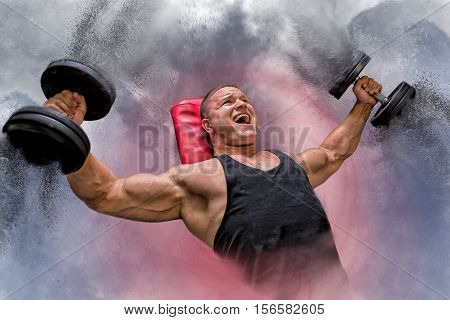 Composition bodybuilder lifting dumbbells, at the gym, dumbbells are disintegrating with power, doing flies on the bench.