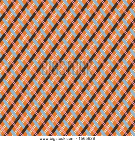 Orange And Brown Retro Plaid Background, Background Illustration