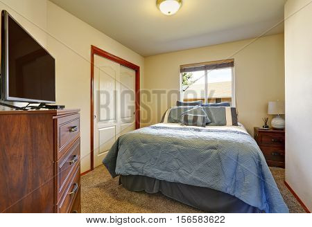 Large Blue Bed, Cabinet With Tv, Closet In Small Bedroom