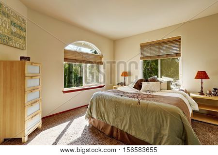 Bright Sunny Bedroom Interior With Modern Cabinet And Arched Window.