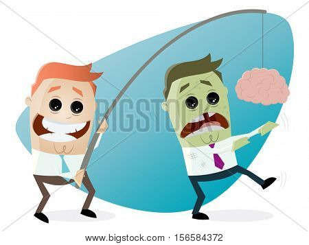 businessman luring zombie with brain on a rod