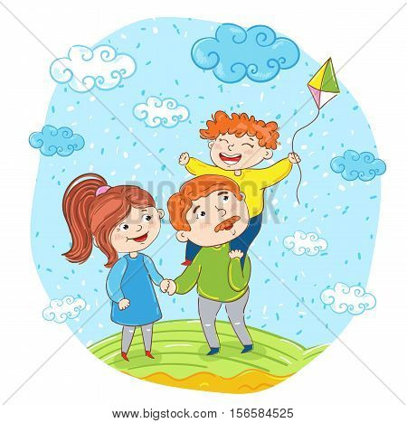 Happy family cartoon characters vector illustration. Father, mother and son with kite on meadow on sky background. Summer time, rest at nature. Family bonding activities, travel time. Happy people