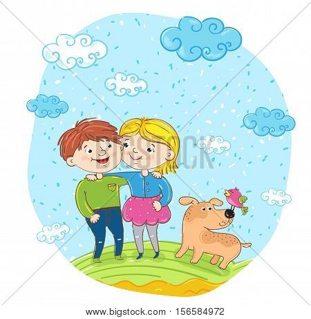 Happy children with dog cartoon characters vector. Smiling girl and boy cuddling and having fun, smiling and chatting at park. Summer holidays, vacation, happy people. friends having fun. Cute gir and boy with dog outside. Kids friends on walk
