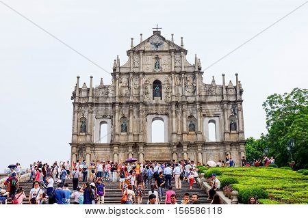 Macau, China - 28 AUGUST, 2016: Ruins of St. Paul's. One of Macau's best known landmarks. In 2005, they were officially listed as part of the Historic Centre of Macau, a UNESCO World Heritage Site