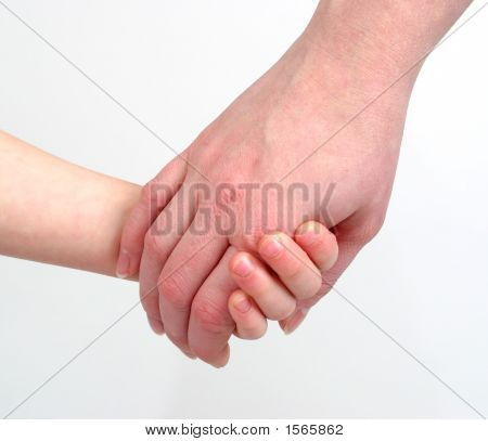 Mother And Daughter Holding Hands, On White Background
