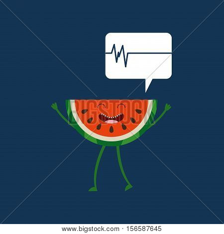 healthy fruit watermelon, heartrate icon background vector illustration eps 10